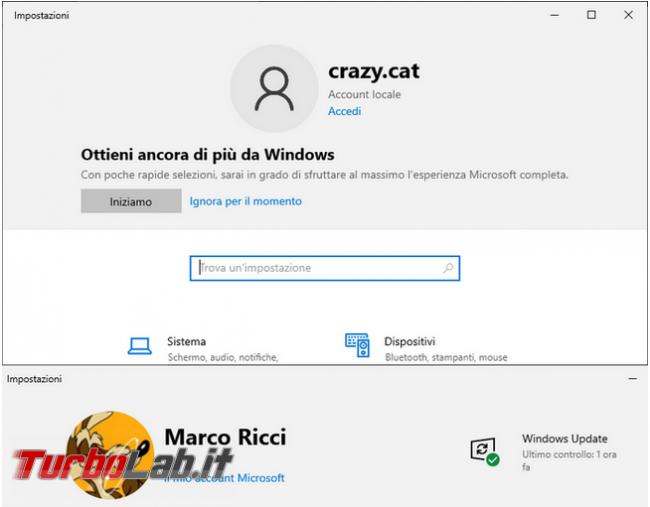 Come attivare/disattivare banner utente impostazioni Windows 10
