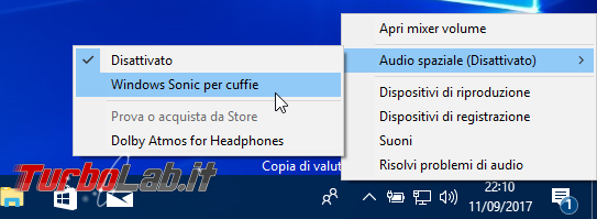Come attivare Windows Sonic ed ottimizzare resa sonora Windows 10 Audio Surround spaziale