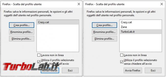 Come avviare più profili Firefox configurazione diversa