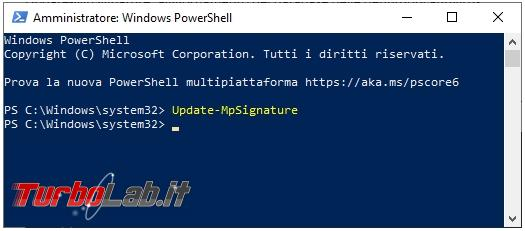 Come avviare scansione Windows Defender tramite PowerShell
