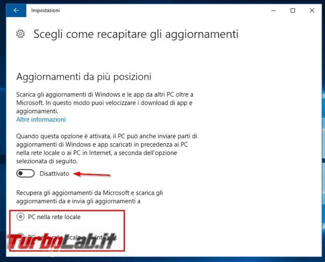 Come bloccare aggiornamenti P2P Windows 10