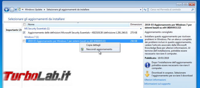 "Come bloccare avviso "" supporto Windows 7 sta finire"" (guida) - windows update windows 7 KB4493132 schermata fine supporto"
