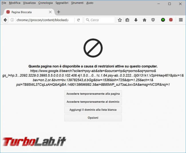 Come bloccare contenuti pornografici l'estensione ProCon Latte Mozilla Firefox