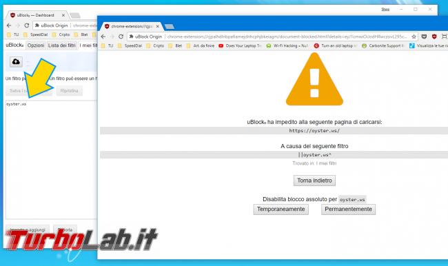 Come bloccare script oyster.ws/webnode.js pagine/siti web: cos'è Oyster? pericoloso malware/virus?
