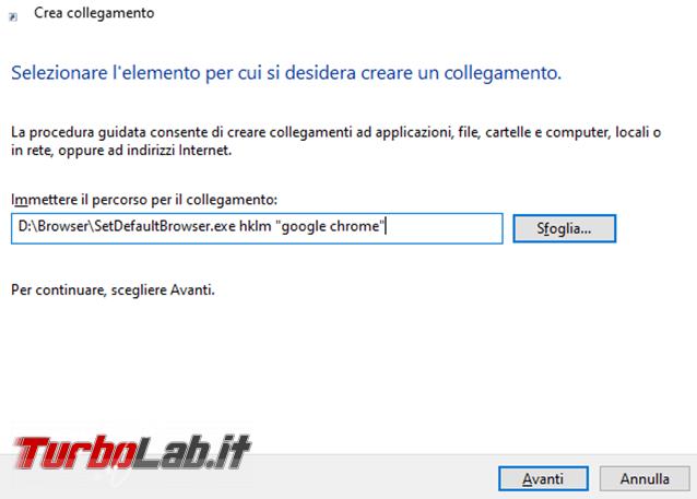 Come cambiare browser predefinito riga comando