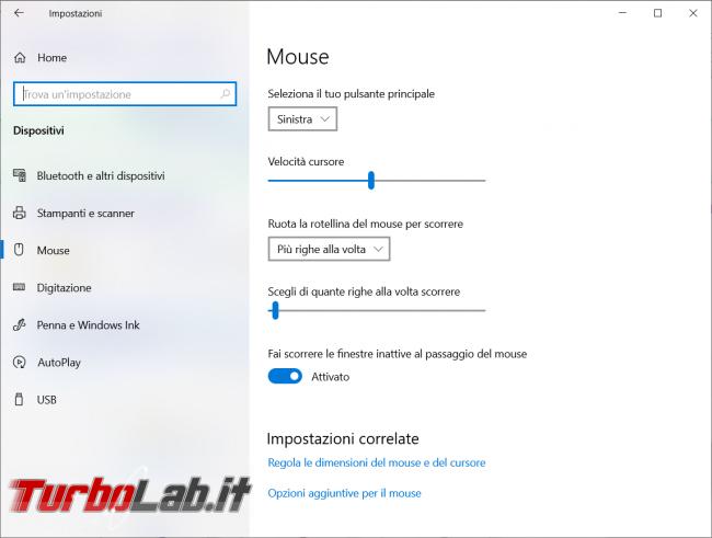 Come cambiare cursore mouse Windows 10