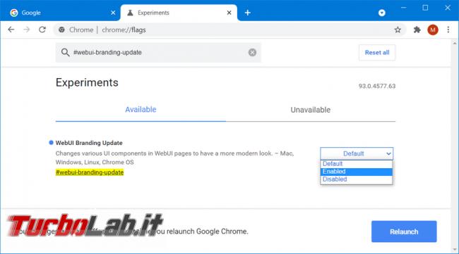 Come cambiare l'aspetto pagina impostazioni Chrome