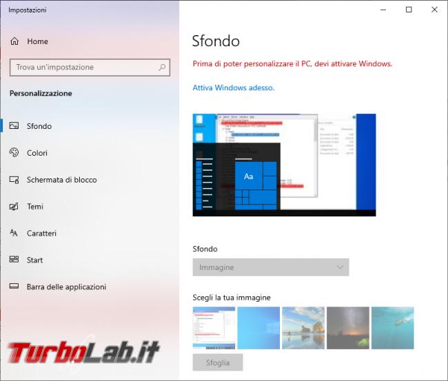 Come cambiare sfondo desktop Windows 10 quando non è attivato