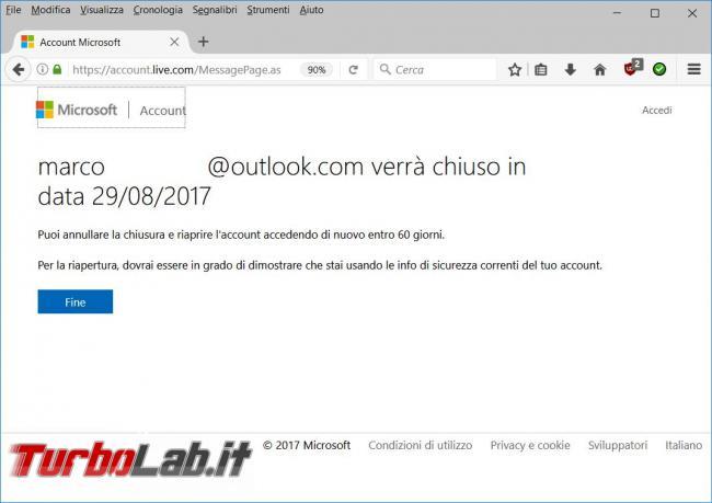 Come cancellare account Microsoft (@outlook) non utilizziamo più
