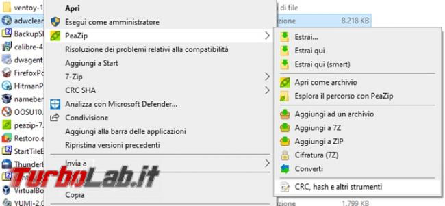 Come cancellare file maniera definitiva Peazip