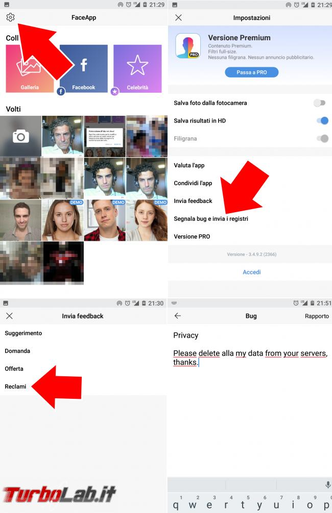 Come cancellare foto FaceApp (guida) - procedura cancellazione faceapp