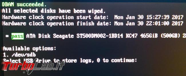 Come cancellare maniera definitiva dati hard disk Sata Ide Dban