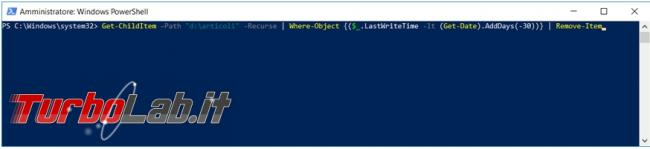 Come cancellare, Windows 10, file più vecchi certa data riga comando powershell