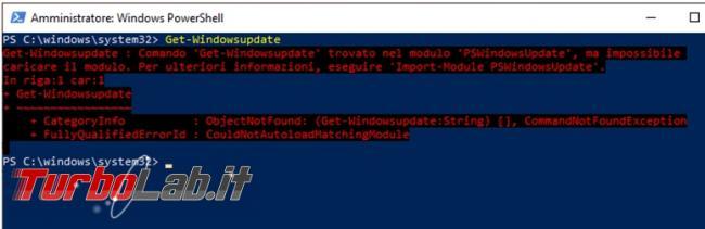 Come cercare installare aggiornamenti Windows Update linea comando PowerShell (Windows 10)