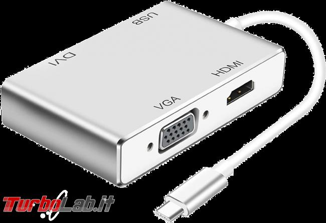 Come collegare PC portatile porta USB Type-C schermo esterno, proiettore TV: migliori cavi adattatori (video-guida) - adattatore video USB Type-C hdmi dvi vga