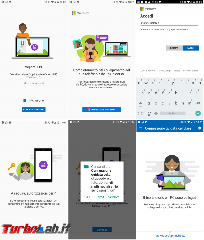 "Come collegare PC Windows 10 telefono (smartphone) Android: guida rapida ""Connessione guidata cellulare"" - android Microsoft apps login"