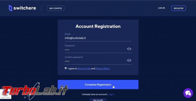 Come comprare Bitcoin, Ethereum altre criptovalute carta credito 2020: video-guida Switchere (alternativa facile Coinbase) - 10_switchere_registration_form