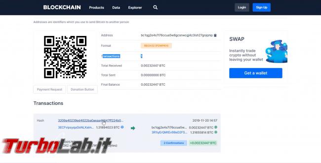 Come comprare Bitcoin, Ethereum altre criptovalute carta credito 2020: video-guida Switchere (alternativa facile Coinbase) - 120_blockchain explorer