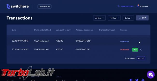 Come comprare Bitcoin, Ethereum altre criptovalute carta credito 2020: video-guida Switchere (alternativa facile Coinbase)