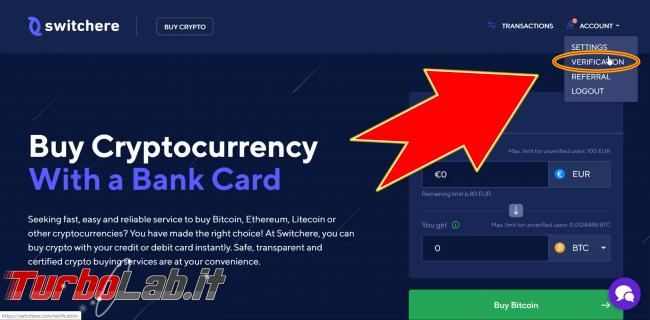 Come comprare Bitcoin, Ethereum altre criptovalute carta credito 2020: video-guida Switchere (alternativa facile Coinbase) - 200_switchere_account_verification_01_elaborata
