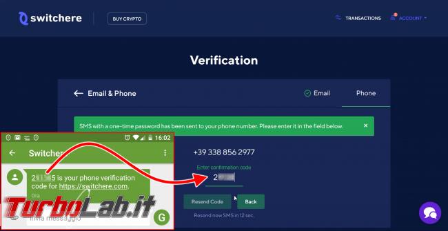 Come comprare Bitcoin, Ethereum altre criptovalute carta credito 2020: video-guida Switchere (alternativa facile Coinbase) - 200_switchere_account_verification_10_elaborata