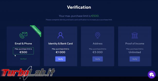 Come comprare Bitcoin, Ethereum altre criptovalute carta credito 2020: video-guida Switchere (alternativa facile Coinbase) - 200_switchere_account_verification_11