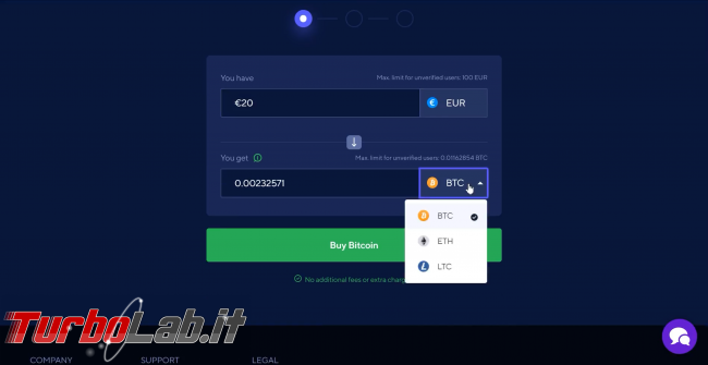 Come comprare Bitcoin, Ethereum altre criptovalute carta credito 2020: video-guida Switchere (alternativa facile Coinbase) - 65_switchere_scelta_criptovaluta