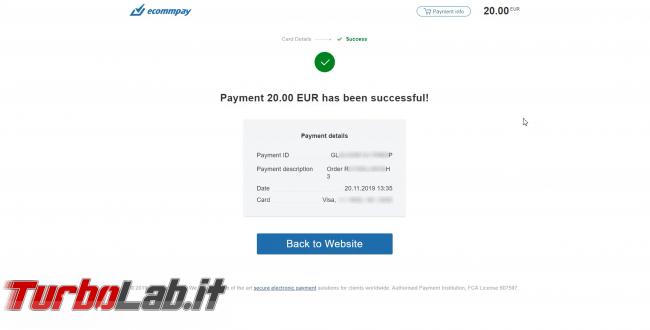 Come comprare Bitcoin, Ethereum altre criptovalute carta credito 2020: video-guida Switchere (alternativa facile Coinbase) - 90_switchere_payment_successfull