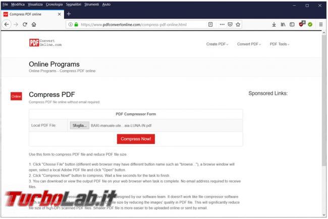 Come comprimere file PDF ridurne dimensioni servizi online