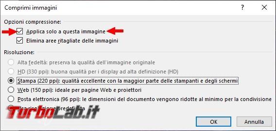 Come comprimere immagini documento Word ridurre dimensioni complessive file