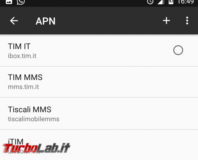 Come configurare Internet Tiscali Android (connessione dati 3G/4G LTE) - Screenshot_20170204-164940