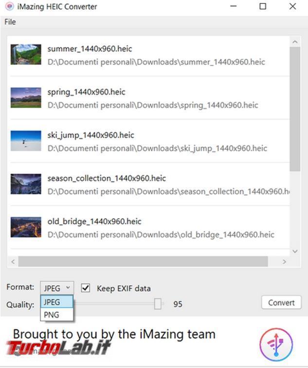 Come convertire immagini HEIC JPG / JPEG, PNG altri formati