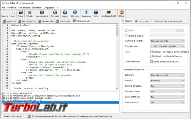 Come convertire script VBS PS1 file eseguibili