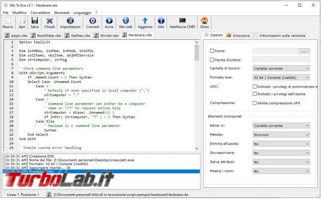 Come convertire script VBS PS1 file eseguibili EXE