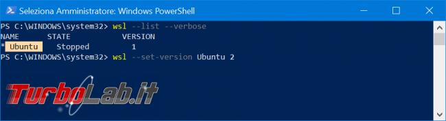 Come convertire WSL1 WSL2 aggiornare distribuzioni già installate (Sottosistema Windows Linux, Windows 10 2004) - zShotVM_1570998403