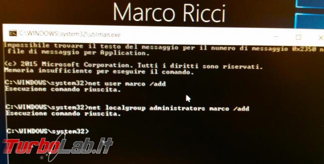 Come creare account amministratore computer direttamente Dvd d'installazione Windows 10