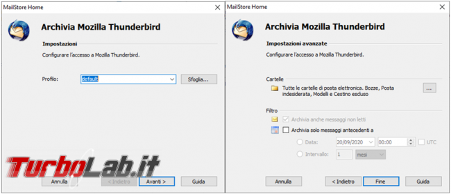 Come creare backup posta elettronica MailStore Home trasferire posta Outlook Thunderbird viceversa