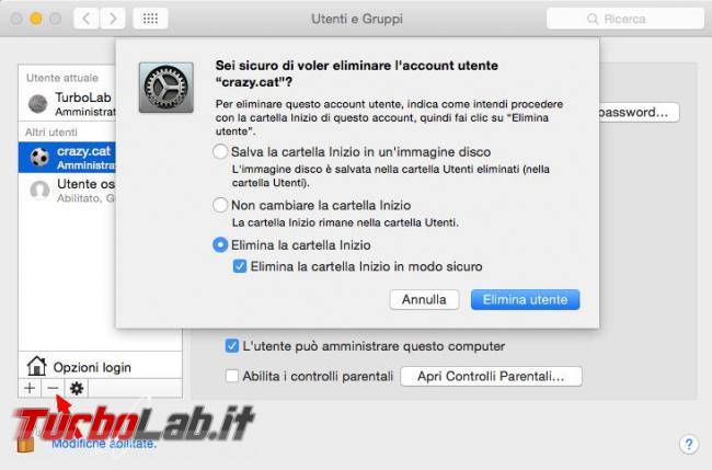Come creare cancellare utente Mac OS X