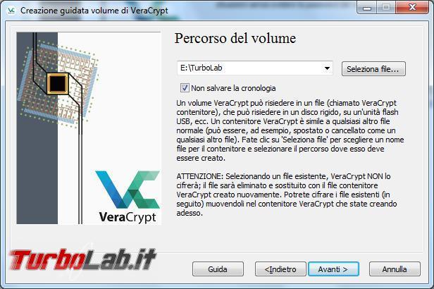Come creare file contenitore criptato VeraCrypt