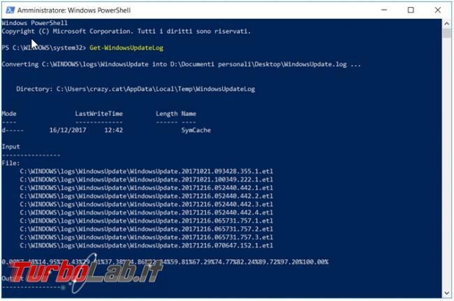 Come creare file windowsupdate.log Windows 10 capire perché aggiornamenti non si installano