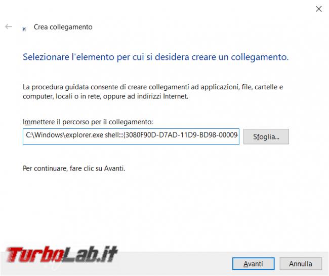 Come creare link mostra desktop Windows 10 11