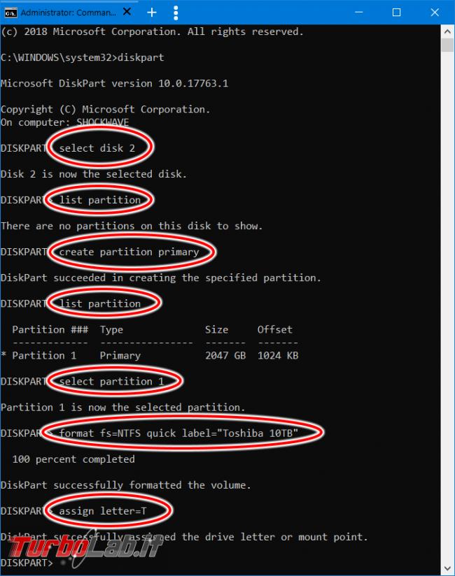Come creare partizione linea comando Windows 10 Diskpart