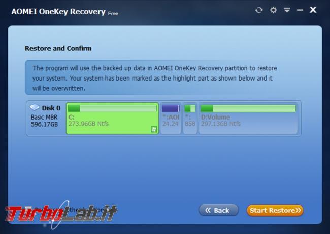Come creare partizione nascosta ripristino sistema operativo AOMEI OneKey Recovery