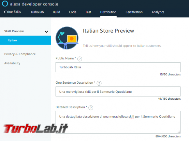 Come creare skill Sommario Quotidiano Alexa