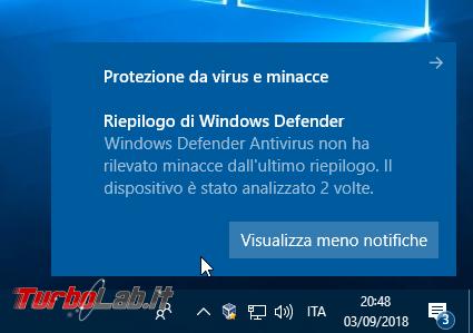 Come disattivare / bloccare notifiche Riepilogo Windows Defender Antivirus non ha rilevato alcuna minaccia