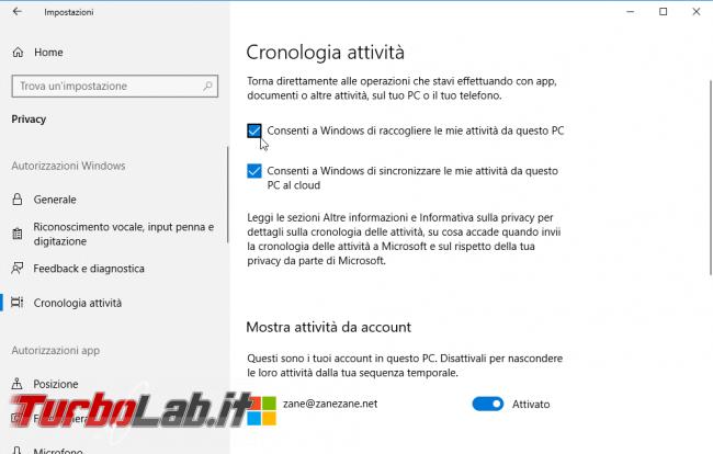 Come disattivare Cronologia attività eliminare file Sequenza temporale Windows 10