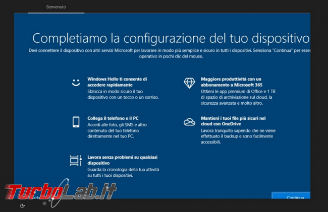 """Come disattivare l'avviso """"Completiamo configurazione dispositivo"""" Windows 10"""