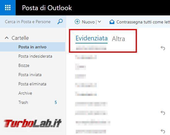 Come disattivare posta evidenziata Outlook - Hotmail