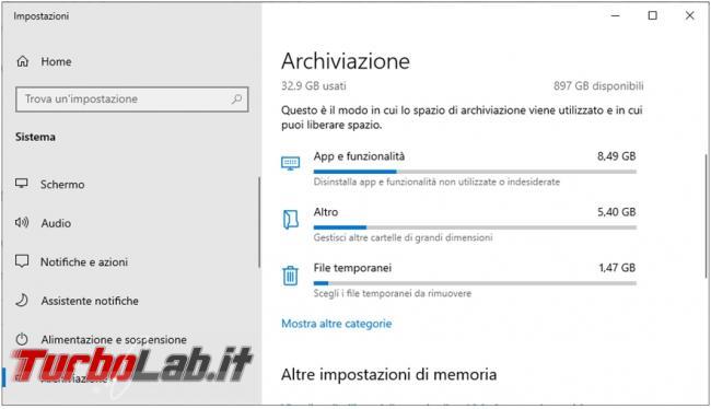 Come disattivare spazio archiviazione riservato Windows 10