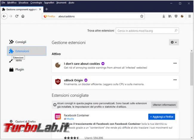 Come disattivare visualizzazione estensioni consigliate Firefox